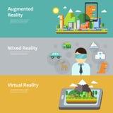 Coleção do conceito da realidade virtual Foto de Stock Royalty Free