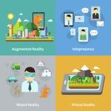 Coleção do conceito da realidade virtual Imagem de Stock