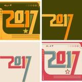 coleção do conceito do vintage do calendário do ano 2017 novo, grupo tipográfico da ilustração do vetor Imagens de Stock