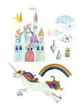 Coleção do conto de fadas da aquarela com unicórnio, arco-íris, castelo, as pedras preciosas mágicas e as nuvens feericamente ilustração do vetor