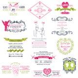 Coleção do convite do vintage do casamento Fotografia de Stock