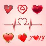 Coleção do coração do Valentim, ilustração do vetor ilustração royalty free