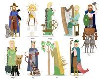 Coleção do deus e da deusa dos noruegueses ilustração royalty free