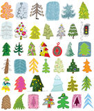 Coleção do Doodle das árvores de Natal Imagens de Stock