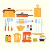 Coleção do equipamento da cozinha dos ícones Fotos de Stock Royalty Free