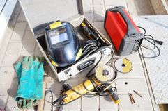 Coleção do equipamento de soldadura! Imagem de Stock