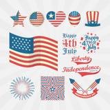 Coleção do estilo do vintage para o Dia da Independência dos EUA Feliz ô julho Fotos de Stock