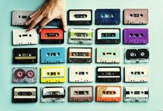 Coleção do estilo do vintage das cassetes de banda magnética Fotos de Stock Royalty Free