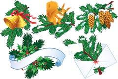 Coleção do Evergreen e do azevinho ilustração do vetor