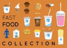 Coleção do fast food Objetos do vetor Fotos de Stock