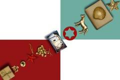 A coleção do feriado, caixas de presente enfileira diagonalmente e Orn decorativo Imagem de Stock Royalty Free