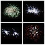 A coleção do fogo de artifício colorido brilhante estourou explosões no preto Foto de Stock