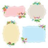 Coleção do frame dos pássaros e das flores Fotografia de Stock Royalty Free