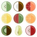 Coleção do fruto Grupo de nove espécies diferentes Estilo especial Ilustração do vetor no fundo branco ilustração do vetor