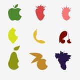 Coleção do fruto mordido ilustração stock