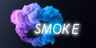 Coleção do fumo, fundo isolado, transparente Ajuste do vapor branco realístico do fumo, ondas do café, chá, cigarros, ilustração do vetor