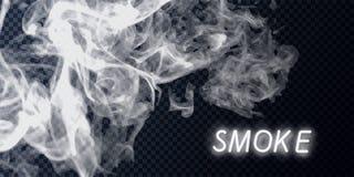Coleção do fumo, fundo isolado, transparente Ajuste do vapor branco realístico do fumo, ondas do café, chá, cigarros, ilustração stock