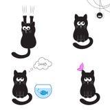 Coleção do gato preto ilustração stock