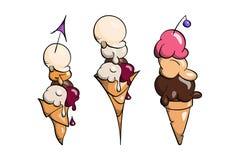 Coleção do gelado, ilustração do vetor da garatuja imagens de stock