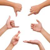 Coleção do gesto diferente das mãos Fotos de Stock Royalty Free