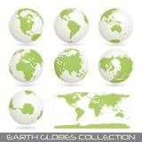 Coleção do glob da terra, branco-verde Imagem de Stock Royalty Free