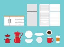 Coleção do grupo de ferramentas da cozinha com vários forma e modelo com estilo liso moderno objeto isolado - vetor ilustração royalty free