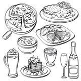 Coleção do grupo de jantar ilustração stock