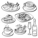 Coleção do grupo de jantar ilustração royalty free