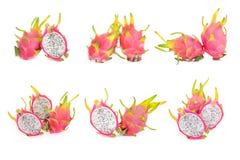 Coleção do isolado fresco do fruto do dragão no fundo branco Imagem de Stock