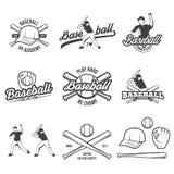 Coleção do logotipo e das insígnias do basebol do vetor, apresentada com um grupo de ilustrações do equipamento de basebol ilustração royalty free