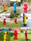 Coleção do montagem da colagem das boca de incêndio de incêndio Imagens de Stock