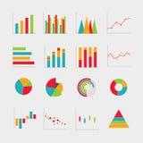 A coleção do negócio diagrams a ilustração do vetor das cartas Foto de Stock