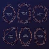 Coleção do ouro do poliedro geométrico, estilo do art deco para o convite do casamento e festa de anos, moldes elegantes luxuosos ilustração do vetor