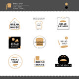 A coleção do pão e o café da padaria projetam o logotipo Fotografia de Stock Royalty Free