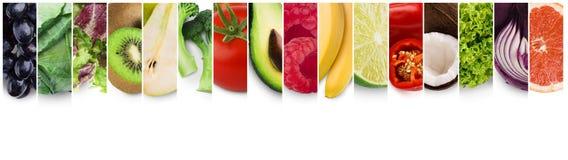 Coleção do panorama de frutas e legumes frescas foto de stock royalty free