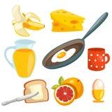 Coleção do pequeno almoço dos desenhos animados Imagens de Stock Royalty Free