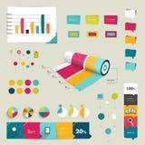 Coleção do plano colorido e dos elementos 3D infographic Fotos de Stock
