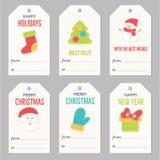 A coleção do presente do ano novo e do Natal etiqueta ilustração do vetor