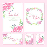 Coleção do projeto do casamento Cartões do convite Imagens de Stock Royalty Free