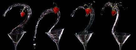 Coleção do respingo da morango de Martini Fotografia de Stock