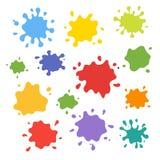 Coleção do respingo da pintura Grupo do vetor de cursos da escova Isolado no fundo branco ilustração royalty free