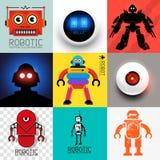 Coleção do robô do vetor Imagens de Stock
