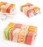 Coleção do rolo do sushi Fotografia de Stock
