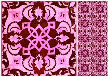 Coleção do rosa e de telhas vermelhas dos testes padrões foto de stock royalty free