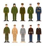 A coleção do russo e povos ou pessoais militares americanos vestiu-se no vário uniforme Pacote de soldados de Rússia ilustração do vetor