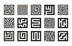 Coleção do símbolo do labirinto Vetor do grupo do ícone do labirinto ilustração royalty free