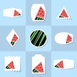 Coleção do selo postal da melancia Imagens de Stock