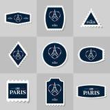 Coleção do selo postal da torre Eiffel Fotos de Stock