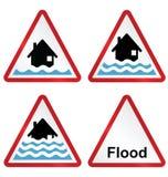 Coleção do sinal de aviso da inundação ilustração do vetor