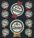Coleção do sinal do aniversário e projeto de cartões no estilo retro Foto de Stock Royalty Free